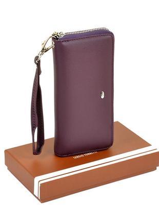 Фиолетовый женский кошелек на молнии матовый с кистевой петелькой