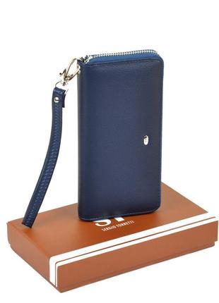 Синий кошелек на молнии женский классический с кистевой ручкой