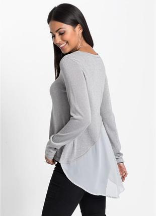 Легкий пуловер с люрексом и шифоновой вставкой,люрекс.