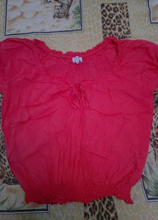 Классная вискозная блуза, кораллового цвета, 14-16.