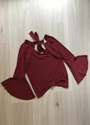 Красива блуза кольору бордо марсала з рукавами клёш кльош на зав'язці s/m