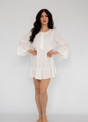 Пляжное платье короткое белое коттон4 фото