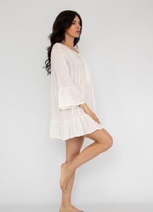 Пляжное платье короткое белое коттон2 фото