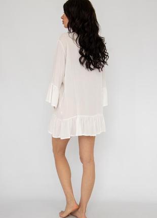 Пляжное платье короткое белое коттон3 фото