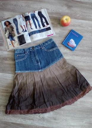Крутючая актуальная джинсовая юбка на девочку 8-9 лет акция 1+1 = 3 🎁