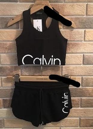 Черный спортивный костюм calvin klein (топ, шорты)