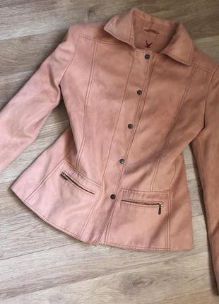 Куртка легкая под замш, светло-кирпичного цвета