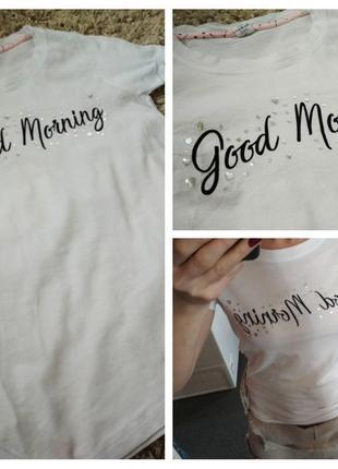 Актуальная белая футболка с принтом, биокатон, ellen amber, p . s