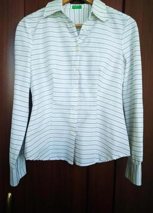 Белая блуза, рубашка в тонкую полоску benetton