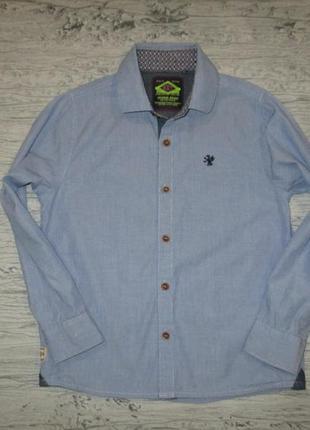 Голубенькая котоновая рубашечка фирмы некст на 5-6 лет