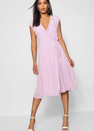 Стильна бузкова сукня на запах