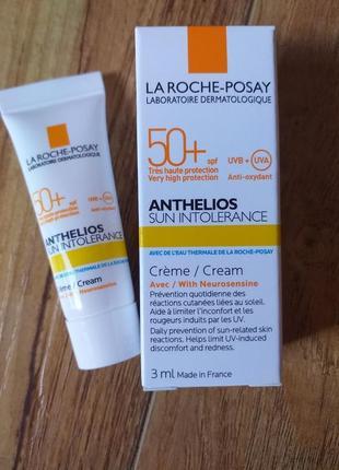 Акция солнцезащитный крем для кожи la roche-posay anthelios intolerance spf 50+, обьем 3мл