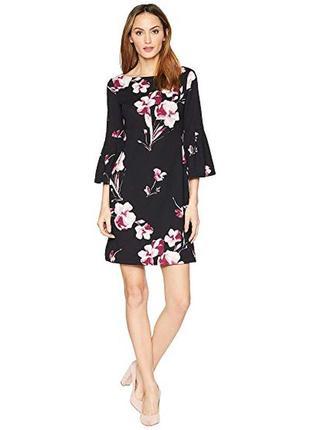Стильное чёрное платье длины миди в цветочный принт plus size размер asos
