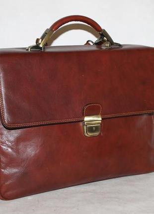 Шикарный кожаный портфель tony perotti i dogi 100% натуральная кожа