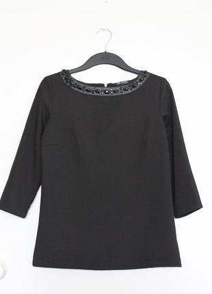Черная блуза top secret. нарядная кофта с камнями