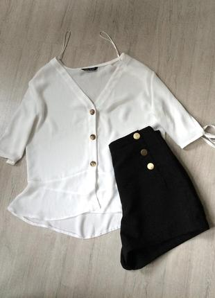 Белая блуза рукава 3/4 с завязками, 38