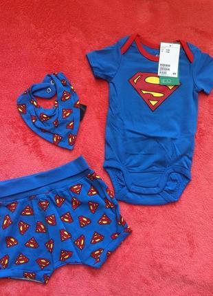 Фирменный комплект h&m superman,боди,шорты и повязка из хлопка,человечек1 фото