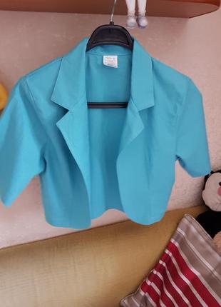 Пиджак укороченный болеро , лен накидка