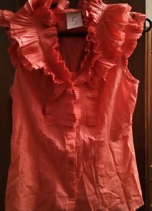Розовая и легкая, приталенная блузка, m-l7 фото