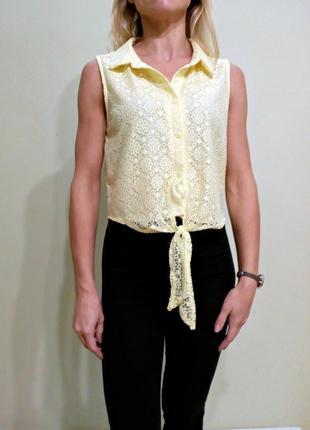 Желтая кружевная блуза с завязками 12
