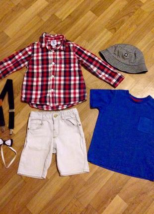 Вещи комплектом: рубашка chicco, шорты, кепка, подтяжки, бабочка.