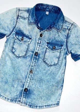 Marks & spencer /стильная рубашка из варенного денима. 18-24 мес. рост 90 см.