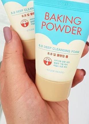 Очищающая пенка 3 в 1 с содой etude house baking powder pore cleansing foam - 150мл