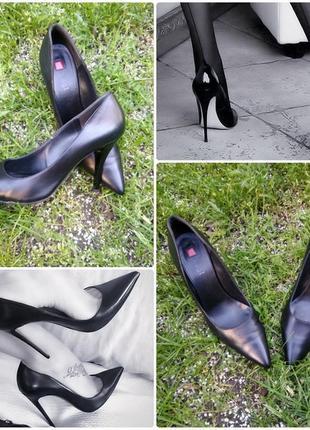 Туфли hogl лодочки кожаные черные классика