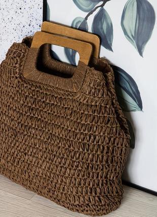 Соломенная сумка с деревянной ручкой 2 цвета