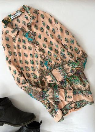 Крутая актуальная рубашка блуза в орнамент vanilla вискоза вискозная