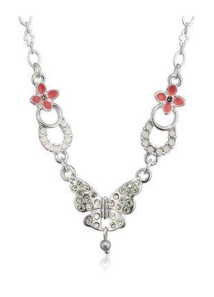 Нежное романтичное колье с бабочками и цветами кристаллы эмаль pilgrim дания