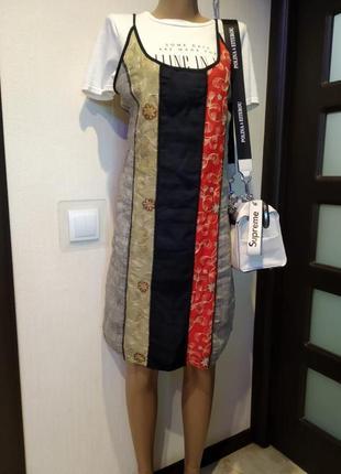Отличный летний сарафан майка платье мини хлопок,лен,шелк