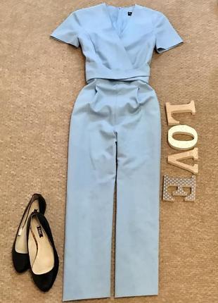 Трендовый укороченный комбинезон голубого цвета miss selfridge