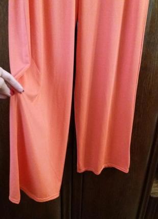 Яркие широкие коралловые брюки --12\14р -франция3 фото