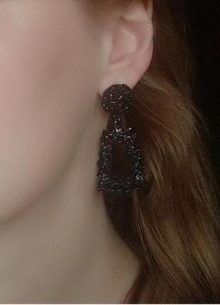 Серьги мини в стиле zara зара черные геометрия сережки винтаж
