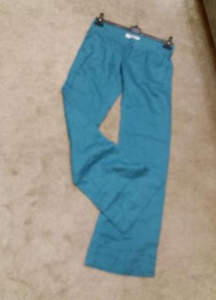Яркие широкие брюки бренд bershka. 10/12р. лен100%6 фото