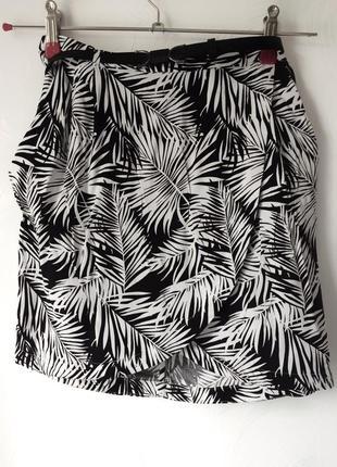 Стильная юбка на запах в гавайский листы🌿,36