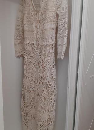 Платье кружевное бежевого цвета бренд twin set simona barbieri размер s