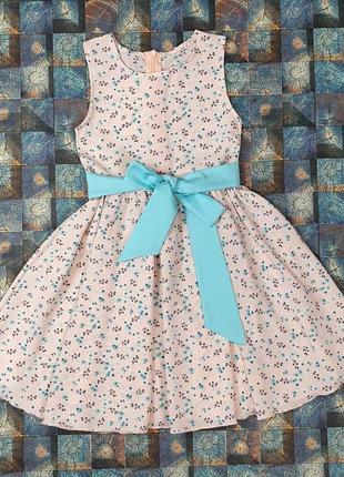 Детское летнее платье сарафан в цветы с поясом нарядное 104-122