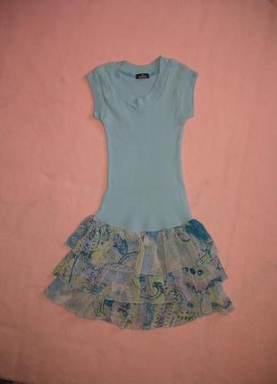 """Красивое комбинированное платье на 7-8 лет  """" queenz """""""