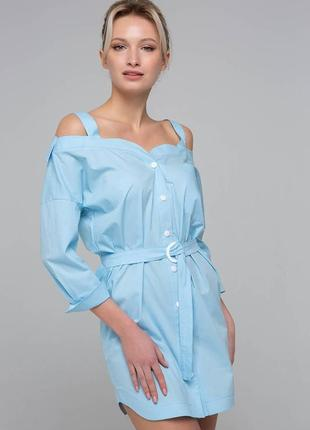 Платье-сарафан с открытыми плечами  голубое