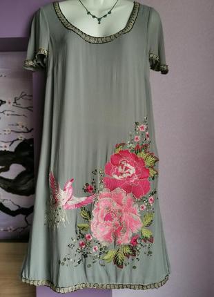 Волшебной красоты шелковое платье с вышивкой monsoon