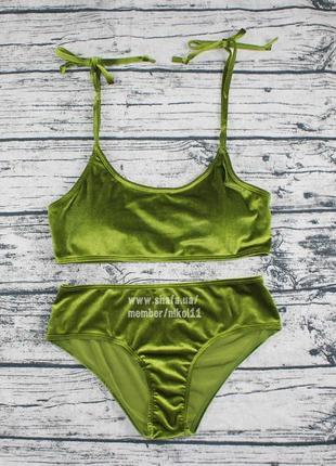 Роскошный бархатный купальник 👑  лиф топ плавки высокая посадка 👑 цвета в наличии