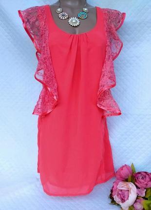 Нежное шифоновое платье с кружевом размер 8-10 (40-42)