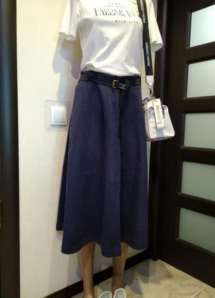 Стильная юбка трапеция миди из плотного тяжелого джинса