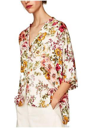 Блуза zara в цветы