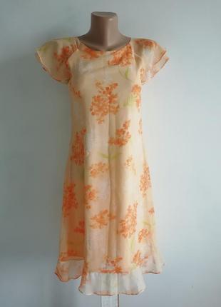 👑нежное персиковое платье миди в цветочный принт 👑 пастельное платье с оборками