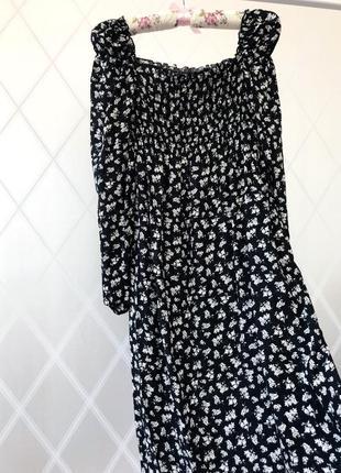 Платье в цветочек со спущенными рукавами фонариками/ atmosphere 36 s