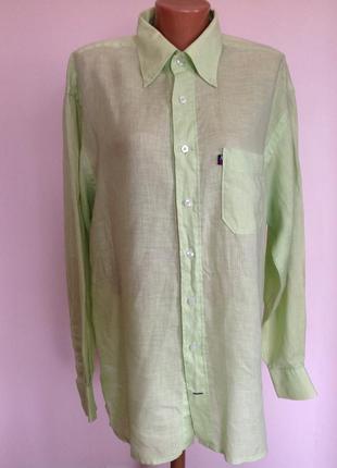 Салатовая мужская леновая рубашка в подарок. /l/brend arrow