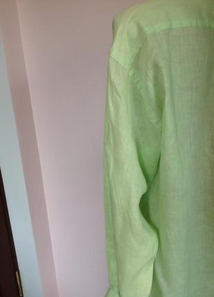 Салатовая мужская леновая рубашка в подарок. /l/brend arrow2 фото